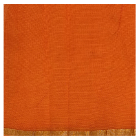 ORANGE COTTON/PRINTED SAREE