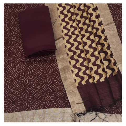 WINE MATKA TUSSAR DRESS MATERIAL