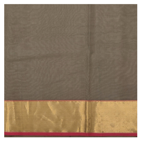 GREY KORA SILK CHANDERI/HANDLOOM SAREE