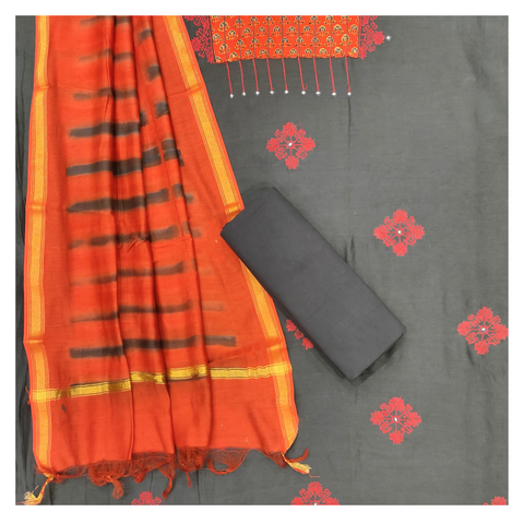 RED COTTON CHANDERI DRESS MATERIAL SUIT