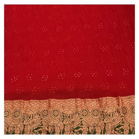 RED GEORGETTE BANDHANI DESIGNER SAREE