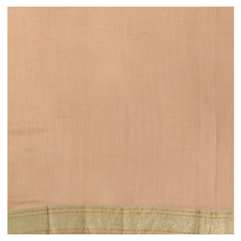 PEACH ORGANZA PRINTED / COTTON SAREE