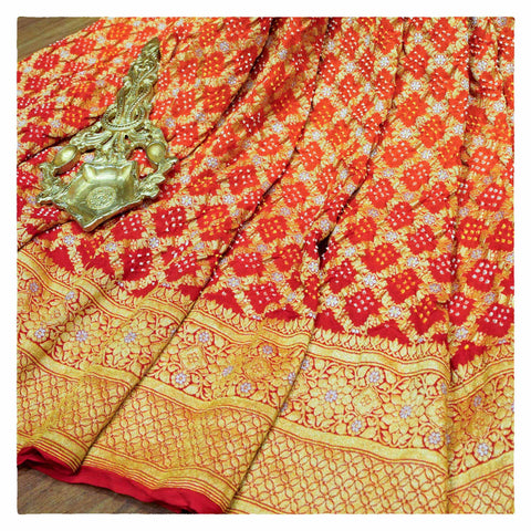 ORANGE BANDHANI GEORGETTE SAREE