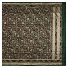 BOTTLE GREEN BANARSI SILK SAREE