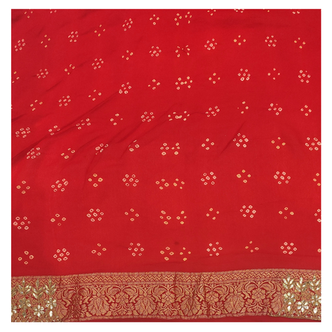 RED GEORGETTE BANDHANI / DESIGNER / HANDLOOM SAREE