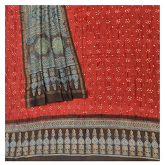 RED COTTON CHANDERI DRESS MATERIAL SUIT,
