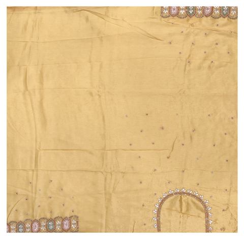 YELLOW LINEN TUSSAR DESIGNER SAREE