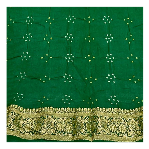 GREEN GEORGETTE BANDHANI SAREE