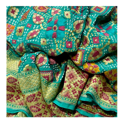 TURQUOISE BLUE GEORGETTE BANDHANI SAREE