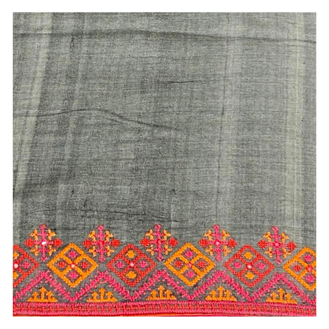 GREY TUSSAR SILK EMBROIDERY SAREE