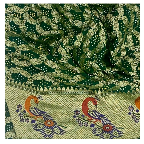 BOTTLE GREEN BANDHEJ SAREE