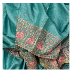 BLUE TUSSAR SILK EMBROIDERED SAREE