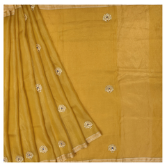 YELLOW TISSUE DESIGNER SAREE
