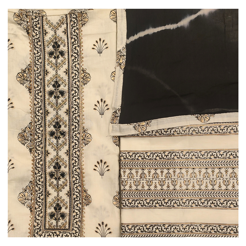 WHITE COTTON CHANDERI DRESS MATERIAL SUIT