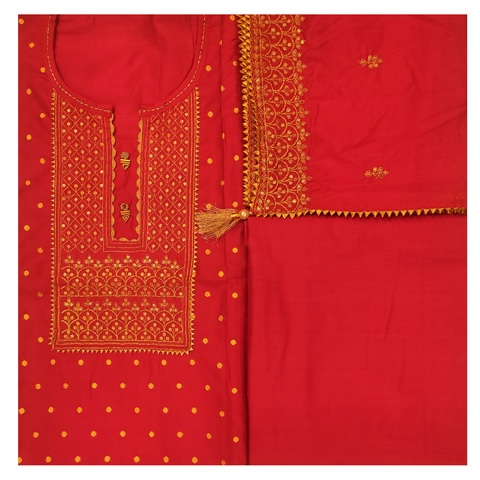 PINK COTTON CHANDERI DRESS MATERIAL SUIT