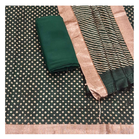 GREEN MATKA TUSSAR DRESS MATERIAL
