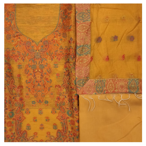 YELLOW COTTON PASHMINA DRESS MATERIAL SUIT