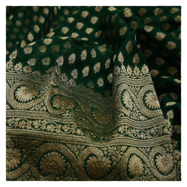 GREEN BANARSI GEORGETTE SAREE