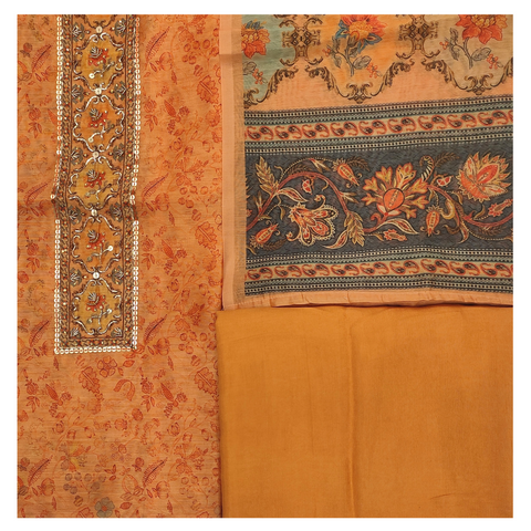 ORANGE COTTON CHANDERI DRESS MATERIALS SUIT
