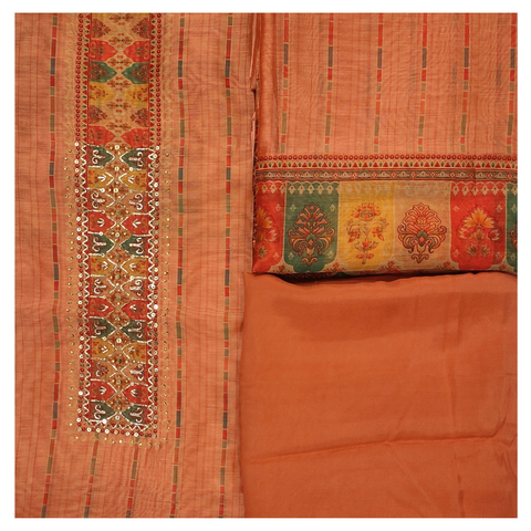 PEACH COTTON CHANDERI DRESS MATERIALS SUIT