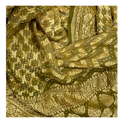 OLIVE GREEN GEORGETTE BANDHANI SAREE