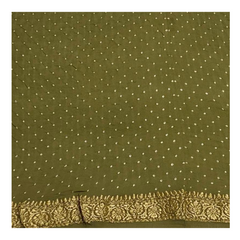 OLIVE GREEN GEORGETTE BANDHANI SAREE,