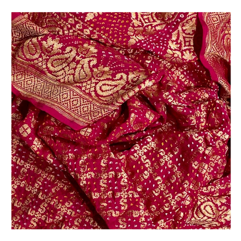 MAGENTA TRADITIONAL BANDHANI SAREE