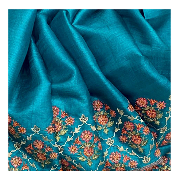 TURQUOISE BLUE TUSSAR EMBROIDERED SAREE