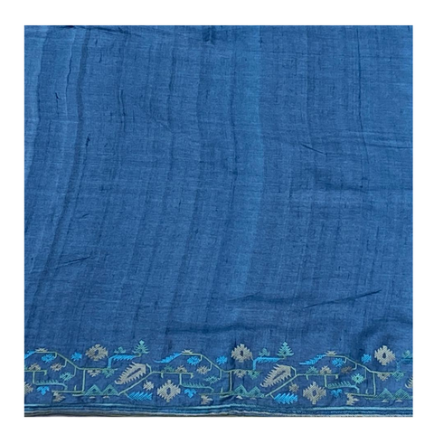 ROYAL BLUE TUSSAR EMBROIDERED SAREE