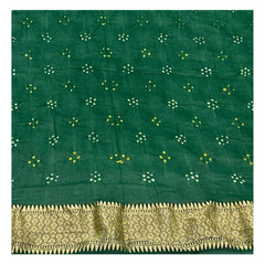 BOTTLE GREEN MEENAKARI GEORGETTE BANDHANI SAREE