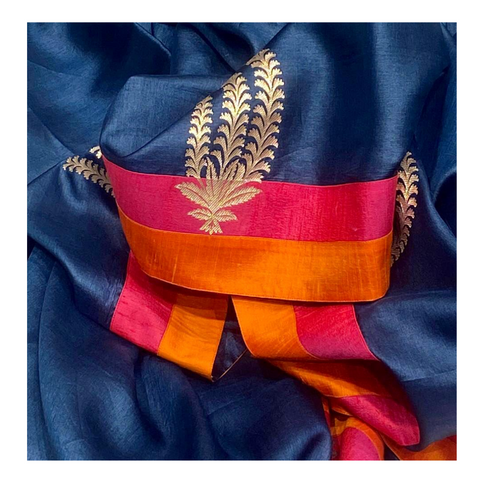 NAVY BLUE TUSSAR DESIGNER SAREE