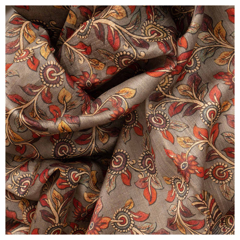 GREY KALAMKARI TUSSAR SAREE