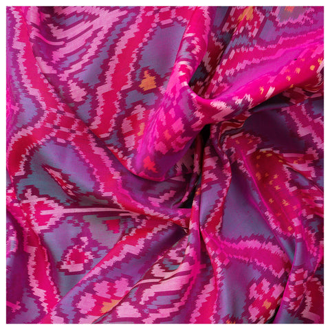 PINK IKKAT SILK SAREE