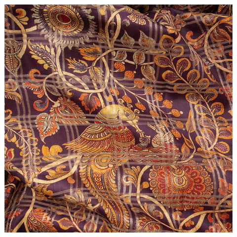 PURPLE KALAMKARI SILK SAREE,