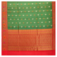 GREEN TUSSAR BANARSI/HANDLOOMS SAREE,