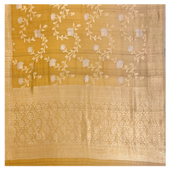 YELLOW TUSSAR GEORGETTE BANARASI/HANDLOOM SAREE