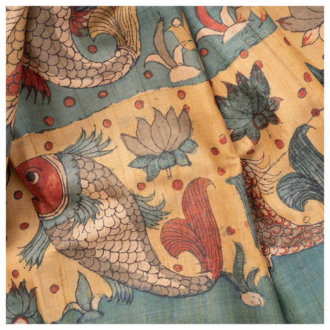 MULTICOLOURED KALAMKARI TUSSAR SAREE,