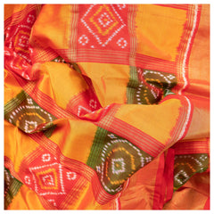 YELLOW IKKAT SILK SAREE,