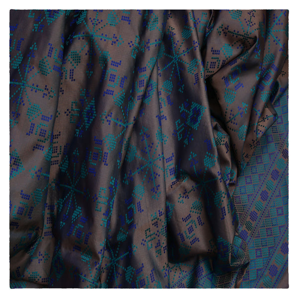 GREY BANARSI SATIN SAREE