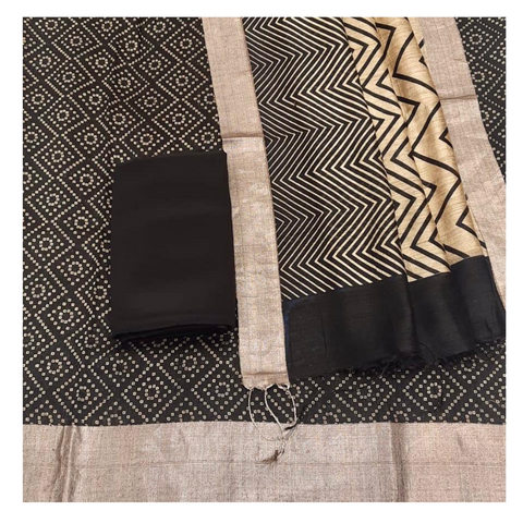 BLACK MATKA TUSSAR DRESS MATERIAL