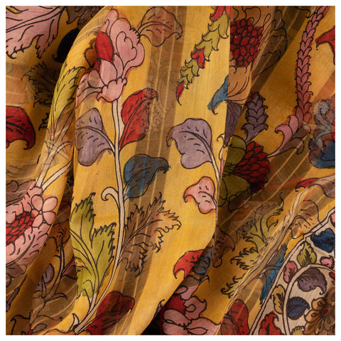 YELLOW KALAMKARI COTTON SAREE