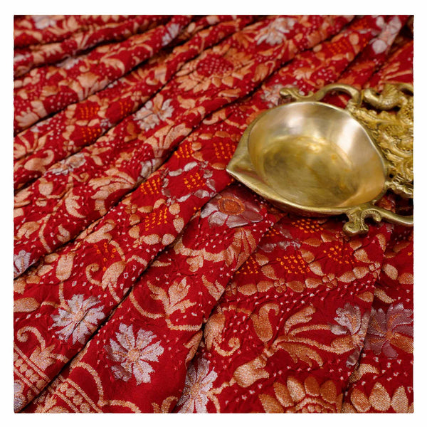 RED BANDHANI GEORGETTE SAREE