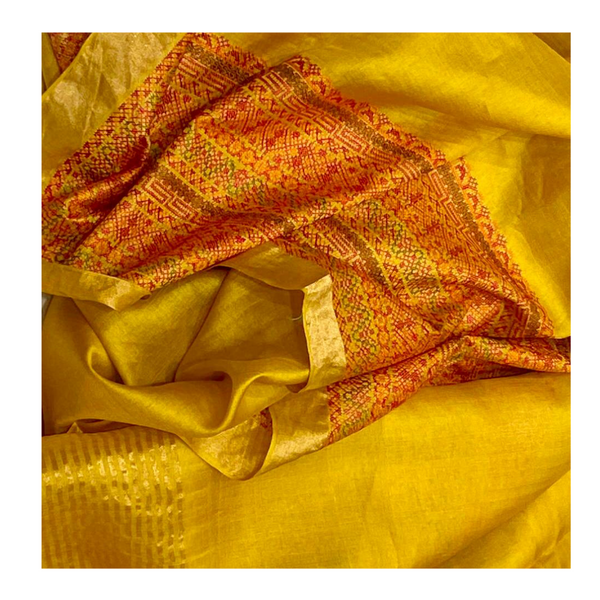 YELLOW TUSSAR SILK EMBROIDERED SAREE