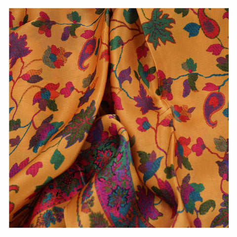 YELLOW PRINTED SATIN SAREES