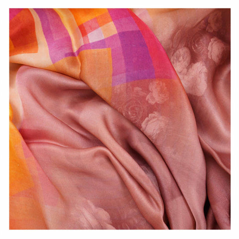 PEACH PRINTED SATIN SAREES