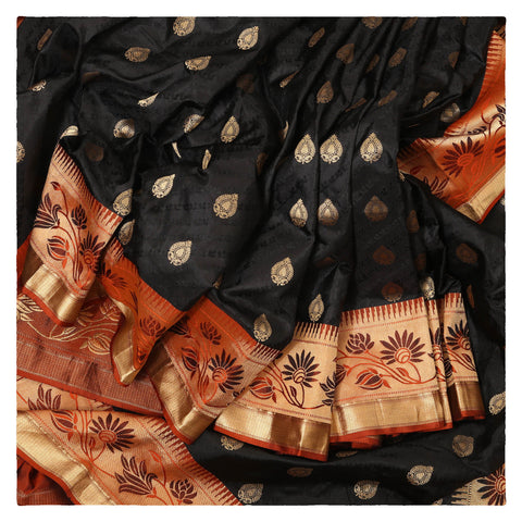 BLACK KANJEEVARAM SILK SAREE,