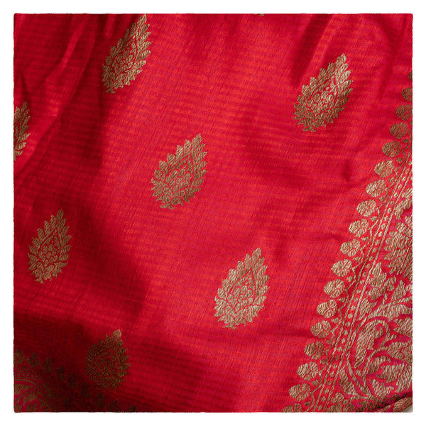 RED BANARSI DUPION SAREE