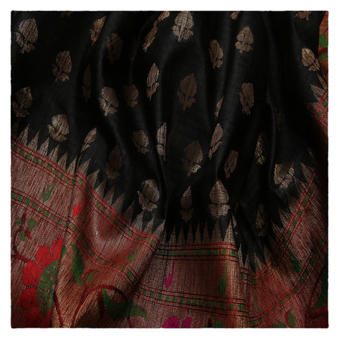 BLACK BANARSI DUPION SAREE