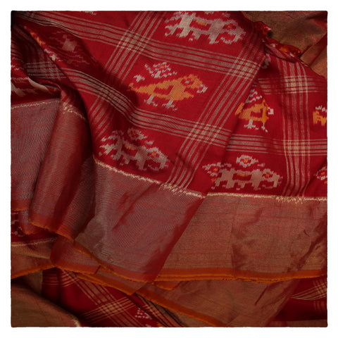 RED IKKAT SILK SAREE