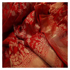 RED BANARSI SILK SAREE,